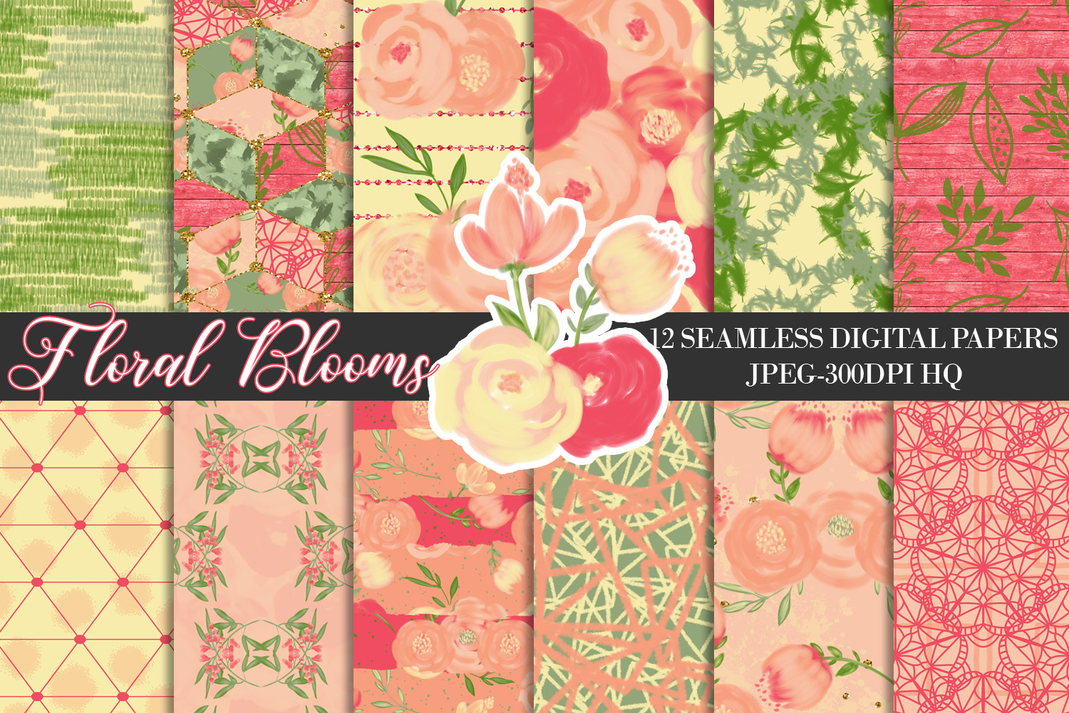 Download Free Spring Orange Flowers Digital Papers Graphic By Lu Designs for Cricut Explore, Silhouette and other cutting machines.