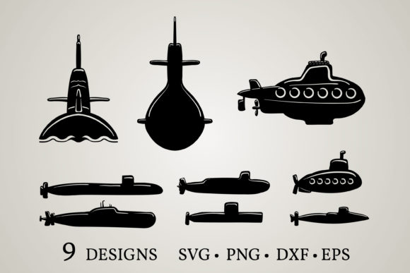 Download Free 2 Submarine Clipart Designs Graphics for Cricut Explore, Silhouette and other cutting machines.