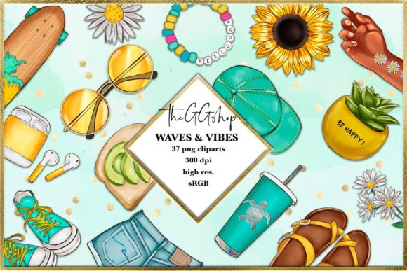 Print on Demand: Summer and Beach Cliparts Set Graphic Illustrations By TheGGShop - Image 1
