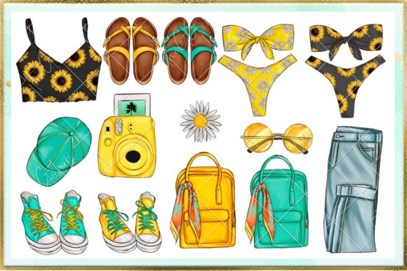 Print on Demand: Summer and Beach Cliparts Set Graphic Illustrations By TheGGShop - Image 2