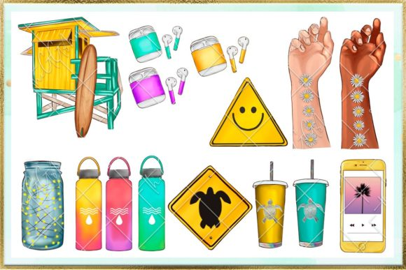 Print on Demand: Summer and Beach Cliparts Set Graphic Illustrations By TheGGShop - Image 4