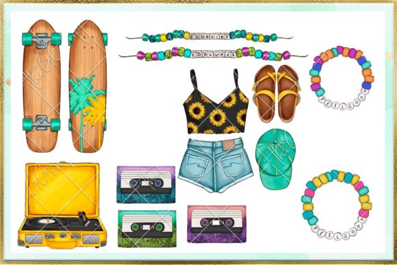 Print on Demand: Summer and Beach Cliparts Set Graphic Illustrations By TheGGShop - Image 5