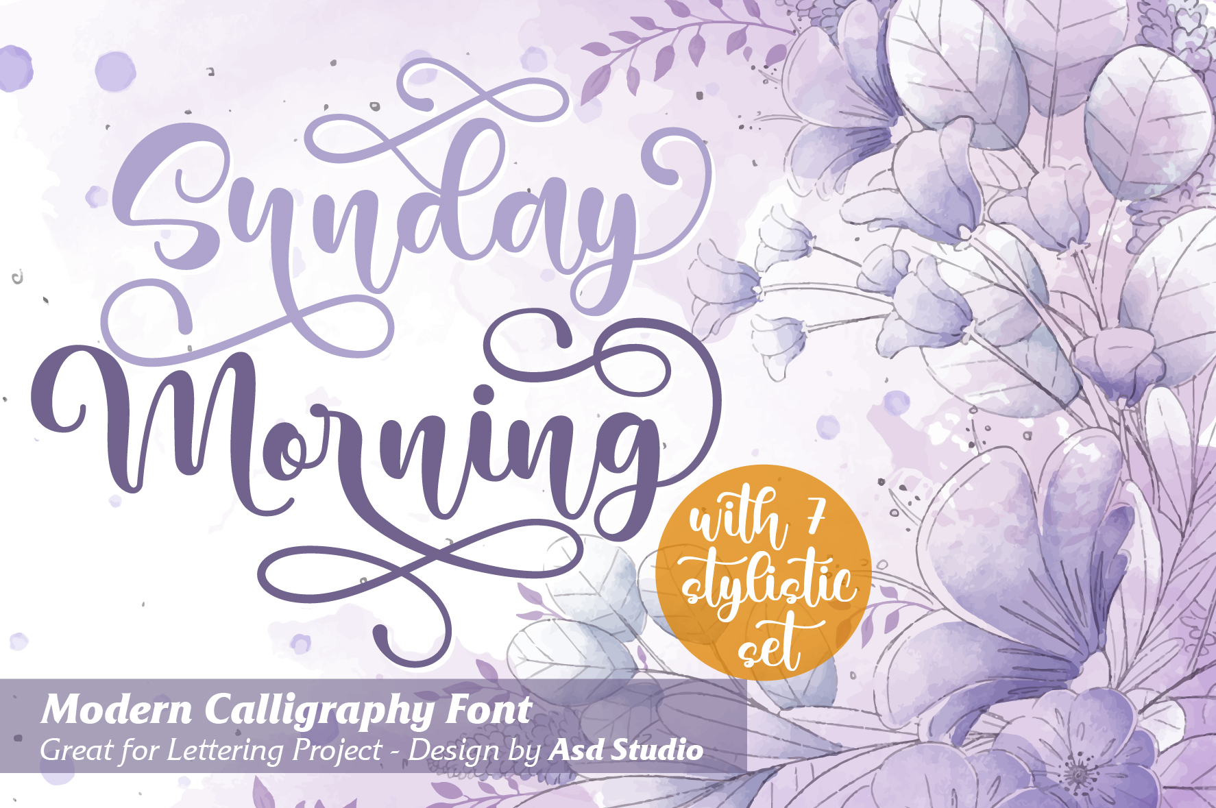 Download Free Sunday Morning Font By Asd Studio Creative Fabrica for Cricut Explore, Silhouette and other cutting machines.