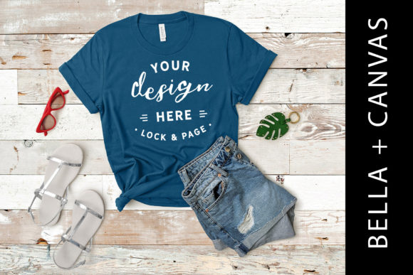Download Free Teal Bella Canvas 3001 T Shirt Mockup Graphic By Lockandpage for Cricut Explore, Silhouette and other cutting machines.