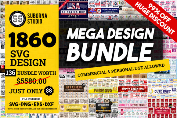 Print on Demand: The Mega Bundle  Grafik Plotterdateien von SubornaStudio