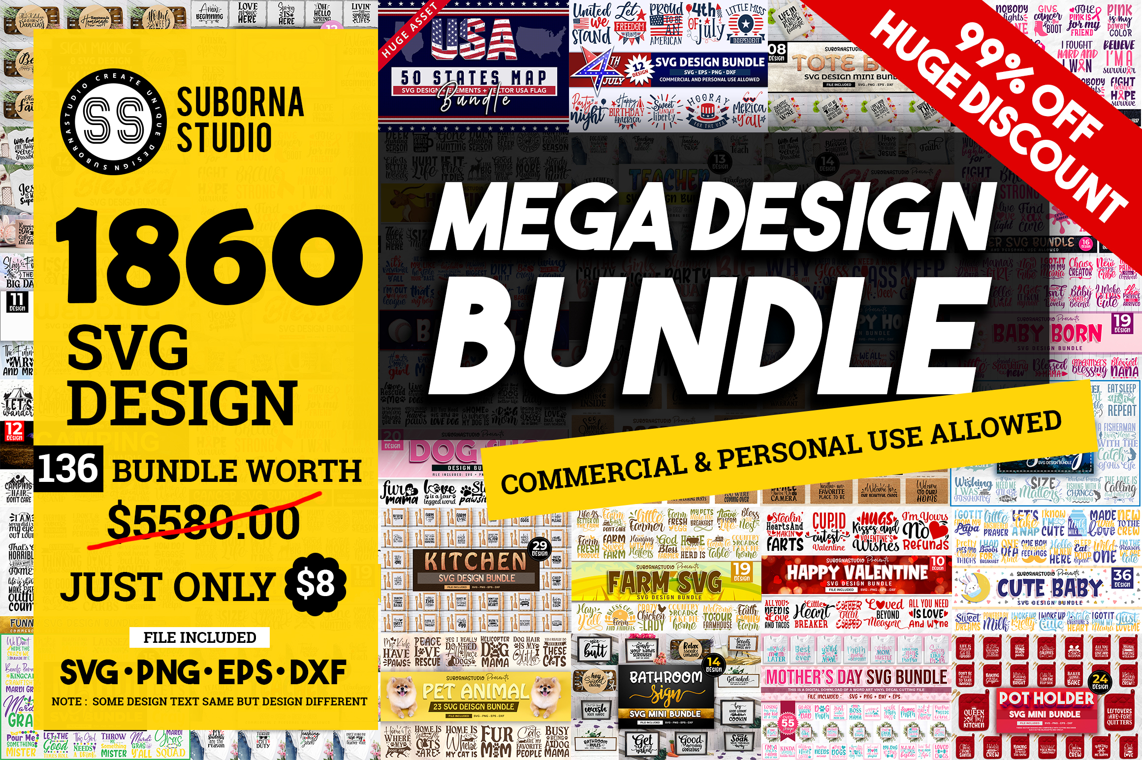 Download Free The Mega Bundle Graphic By Subornastudio Creative Fabrica for Cricut Explore, Silhouette and other cutting machines.