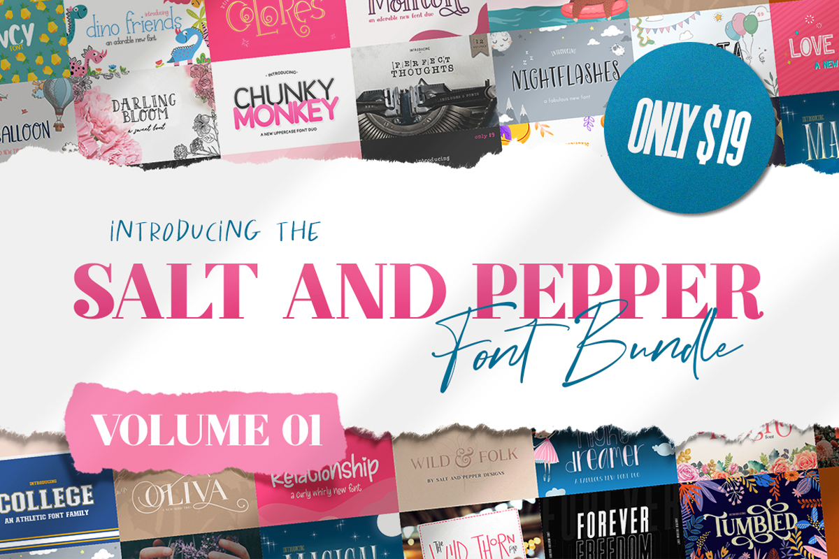 Download Free The Salt Pepper Font Bundle Vol 1 Bundle Creative Fabrica for Cricut Explore, Silhouette and other cutting machines.