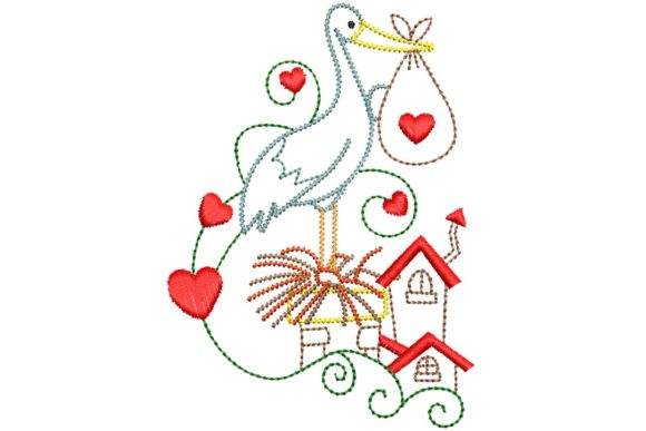 The Stork is Coming 2! Nursery Embroidery Design By BabyNucci Embroidery Designs