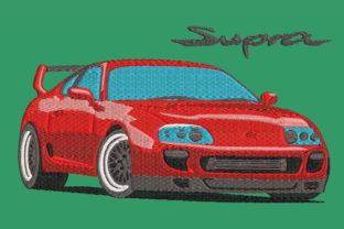 Print on Demand: Toyota Supra 4th Generation, Realistic Transportation Embroidery Design By Embroidery Shelter