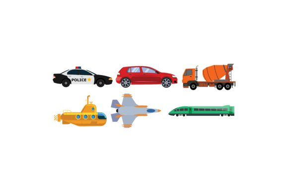 Download Free Transportation Coloured Illustration Set Graphic By for Cricut Explore, Silhouette and other cutting machines.