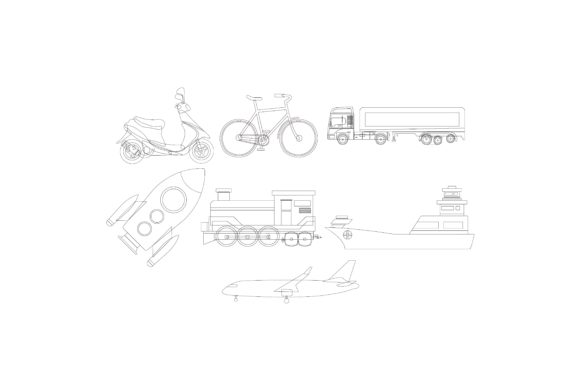 Download Free Transportation Graphic Illustration Set Graphic By for Cricut Explore, Silhouette and other cutting machines.
