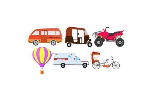 Download Free Transportations Colour Illustration Set Graphic By for Cricut Explore, Silhouette and other cutting machines.