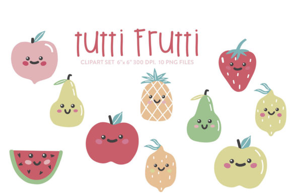 Tutti Frutti Clipart, Fruits Digital Graphic Crafts By Nina Prints