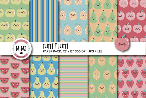 Download Free Tutti Frutti Wrapping Paper Fruits Graphic By Nina Prints for Cricut Explore, Silhouette and other cutting machines.