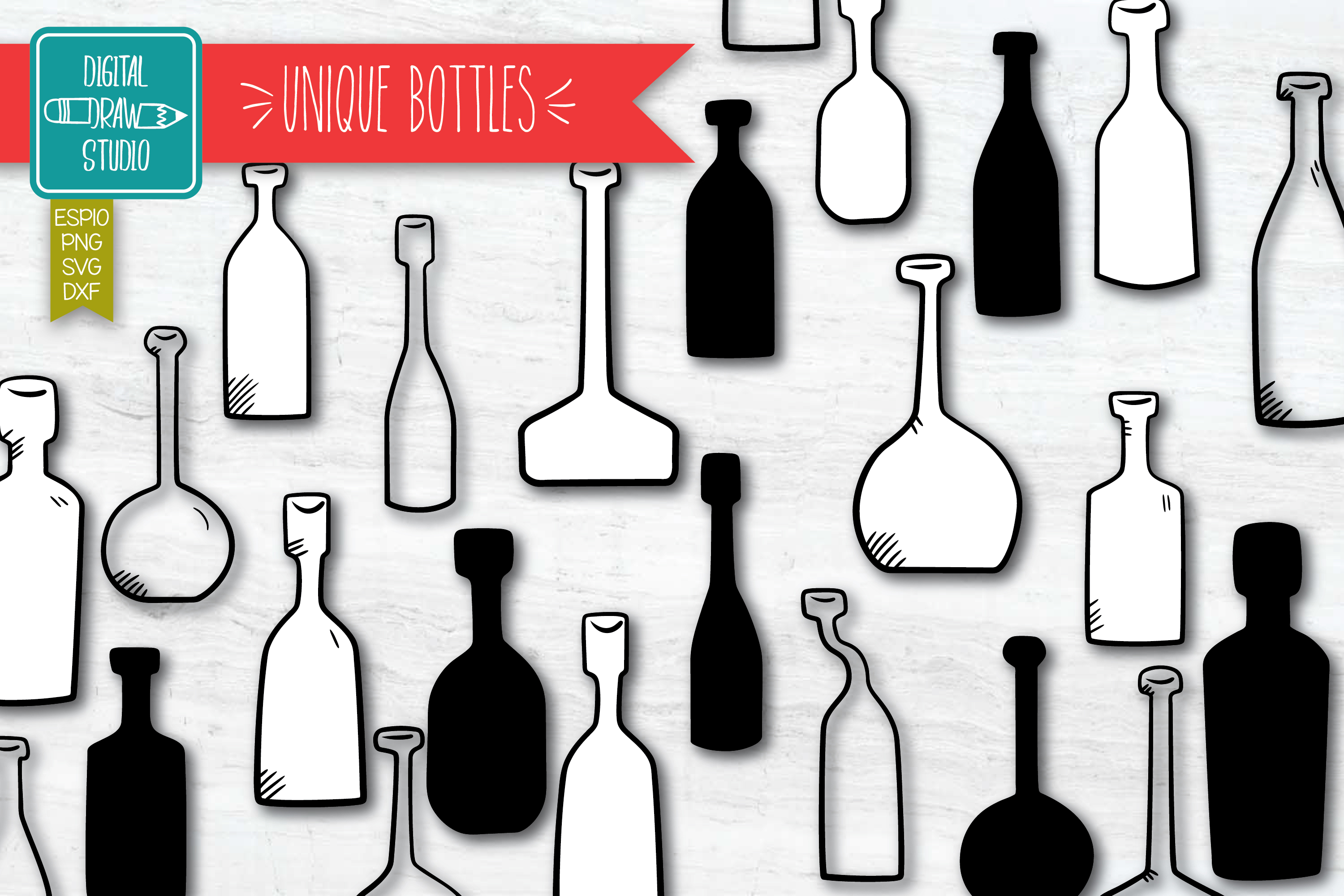 Download Free Vintage Bottles Hand Drawn Potion Vial Graphic By for Cricut Explore, Silhouette and other cutting machines.