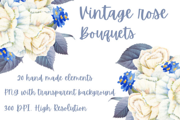 Print on Demand: Vintage Rose Bouquets Graphic Illustrations By Andreea Eremia Design