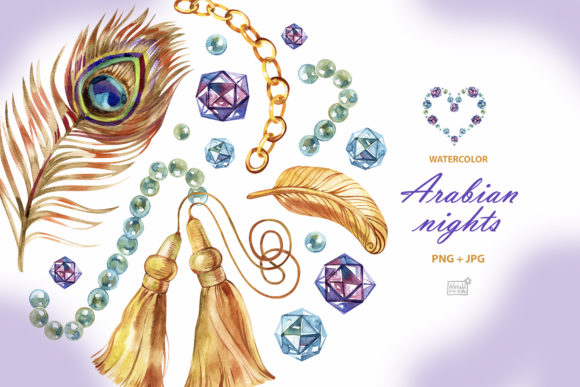 Watercolor Arabian Nights Cliparts Graphic Illustrations By NataliMyaStore
