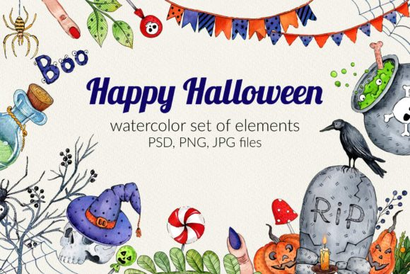 Download Free Watercolor Set For Halloween Graphic By Zmievska Ksenia for Cricut Explore, Silhouette and other cutting machines.