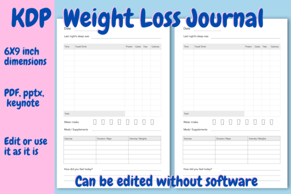 Print on Demand: Weight Loss Journal for KDP Graphic KDP Interiors By Income Plum