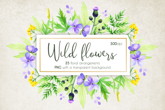 Download Free Wild Flowers Frames Watercolor Graphic By Olga Belova for Cricut Explore, Silhouette and other cutting machines.