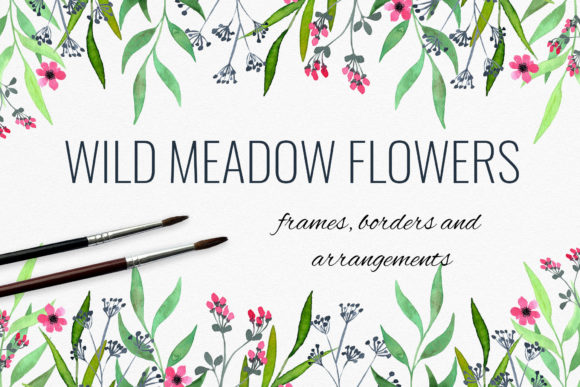 Wild Meadow Flowers Frames, Borders Graphic Illustrations By RedDotsHouse
