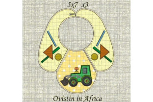 Yellow Tractor Baby Bib for Small Hoops Nursery Embroidery Design By Ovistin in Africa