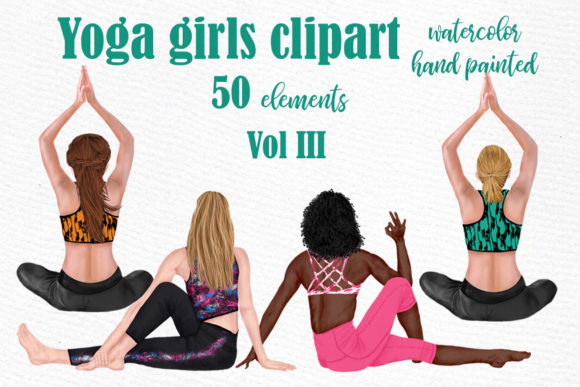 Yoga Girls Workout  Clipart  Graphic Illustrations By LeCoqDesign - Image 1