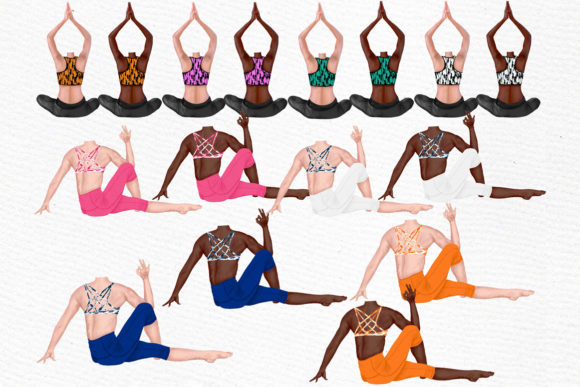 Yoga Girls Workout  Clipart  Graphic Illustrations By LeCoqDesign - Image 2