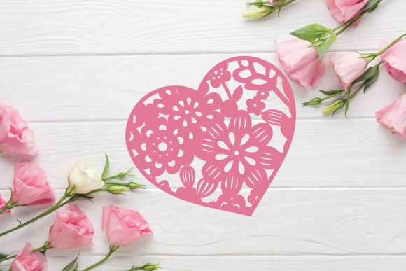 Download Free Floral Heart Frame Paper Cut File Graphic By Diycuttingfiles for Cricut Explore, Silhouette and other cutting machines.