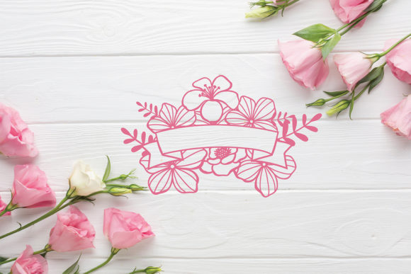 Download Free Floral Ribbon Banner Cut File Graphic By Diycuttingfiles for Cricut Explore, Silhouette and other cutting machines.