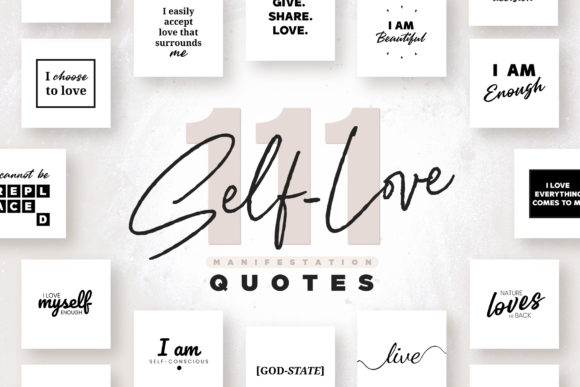 Print on Demand: 111 X Self-Love Quotes - B/W Edition Graphic Print Templates By lavie1blonde