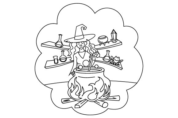 Witch Brewing Potion Coloring Page Halloween Plotterdatei von Creative Fabrica Crafts