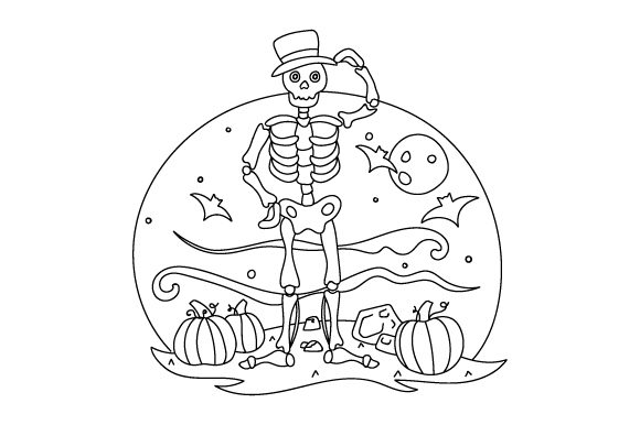 Skeleton Coloring Page Halloween Plotterdatei von Creative Fabrica Crafts