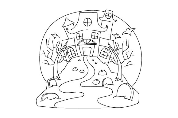 Haunted House Coloring Page Halloween Plotterdatei von Creative Fabrica Crafts