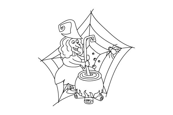 Download Free Witch Brewing Potion Coloring Page Svg Cut File By Creative for Cricut Explore, Silhouette and other cutting machines.