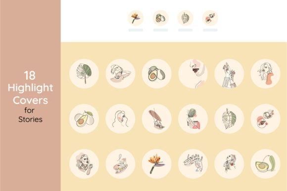Print on Demand: 18 Unique Highlight Covers Icons Set Gráfico Iconos Por LiterkaEm Store