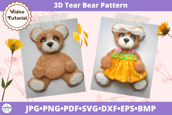 3D Tear Bear Pattern Cut File Graphic 3D SVG By alicazam