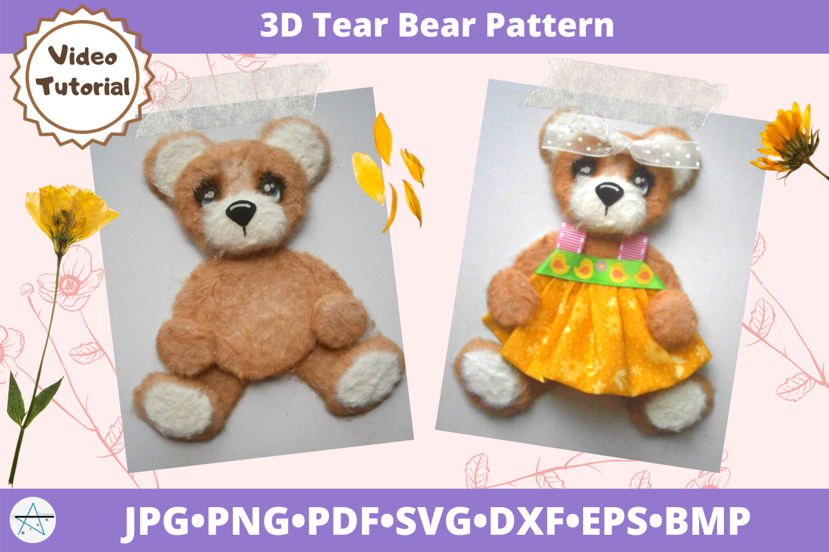 Download Free 3d Tear Bear Pattern Cut File Graphic By Alicazam Creative Fabrica SVG Cut Files