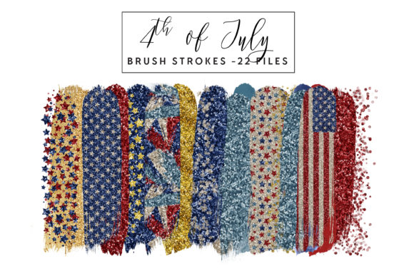 4th of July Brush Strokes Graphic Illustrations By clipheartcreations