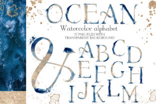 Abstract Watercolor Blue & Gold Alphabet Graphic Objects By EvgeniiasArt