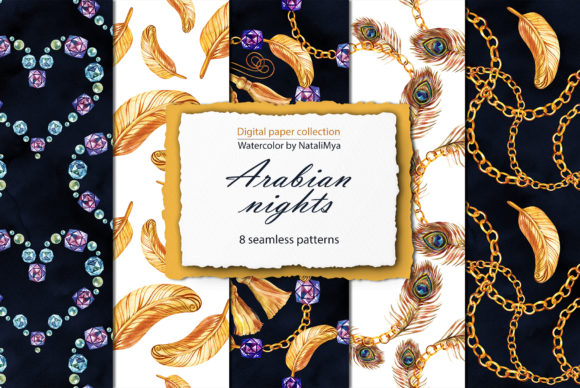 Download Free Arabian Nights Digital Paper Pack Graphic By Natalimyastore Creative Fabrica for Cricut Explore, Silhouette and other cutting machines.