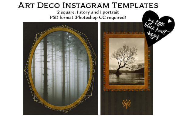Download Free Art Deco Instagram Templates Graphic By My Little Black Heart for Cricut Explore, Silhouette and other cutting machines.