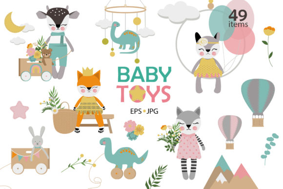 Download Free Baby Toys Clipart Graphic By Lena Dorosh Creative Fabrica for Cricut Explore, Silhouette and other cutting machines.