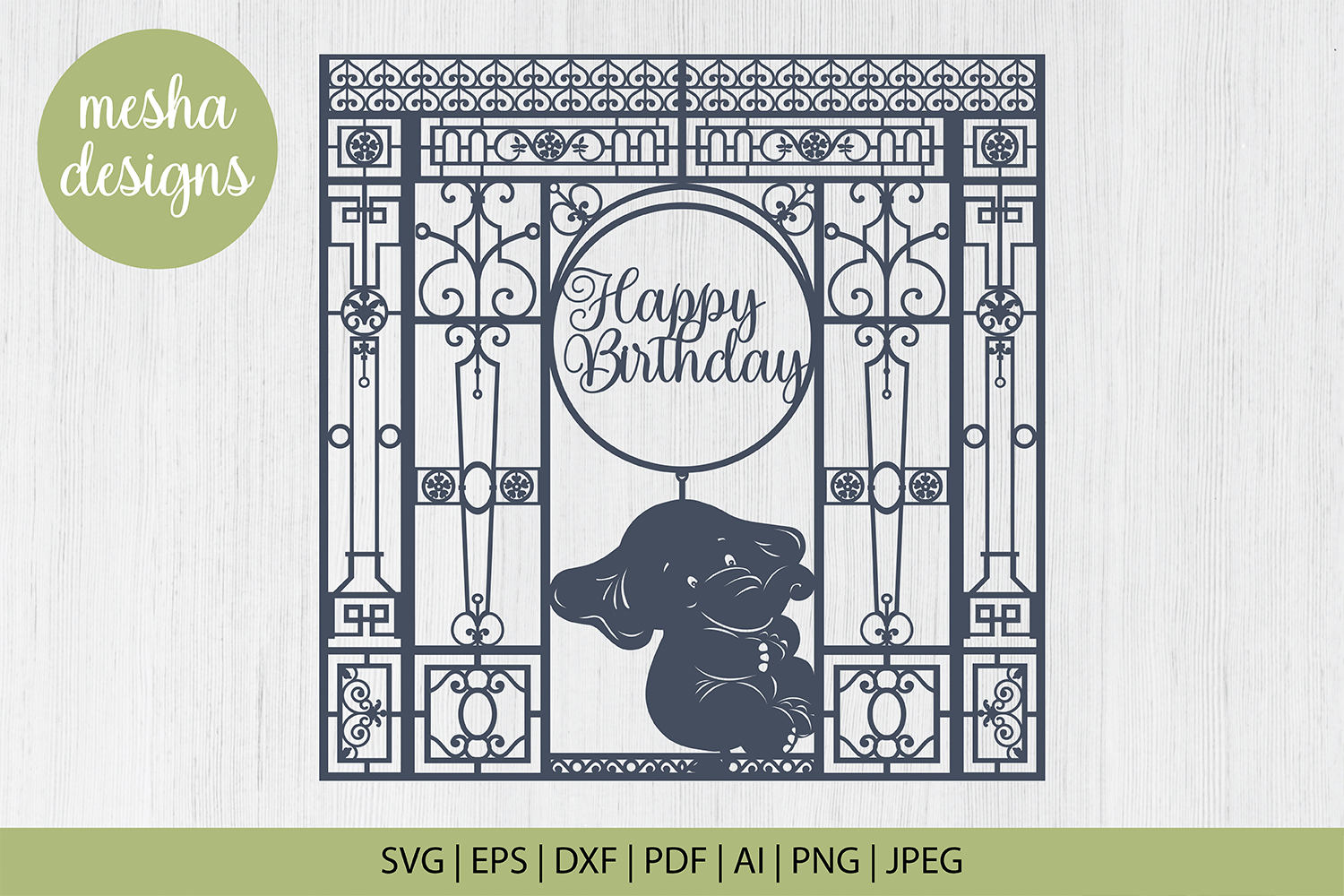 Download Free Baby Elephant Frame Cut File Graphic By Diycuttingfiles for Cricut Explore, Silhouette and other cutting machines.