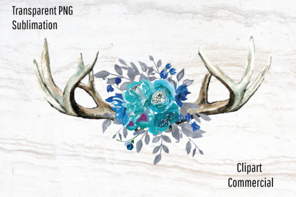 Print on Demand: Boho Antlers, Teal Watercolor Flowers Graphic Illustrations By Blueberry Jam Design