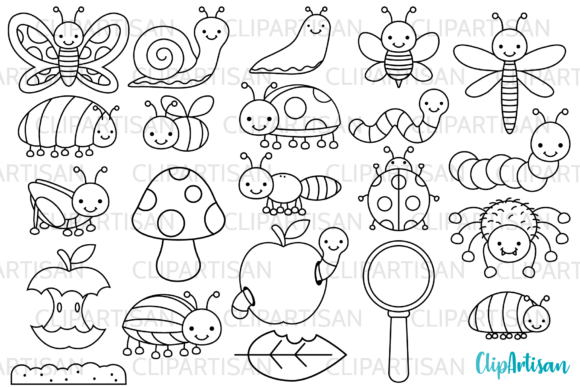 Download Free Bugs Clip Art Insect Digital Stamps Graphic By Clipartisan for Cricut Explore, Silhouette and other cutting machines.