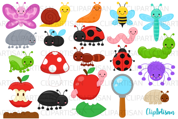 Bugs Clip Art, Insect Illustrations Graphic Illustrations By ClipArtisan