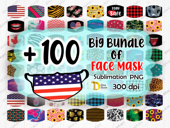 Print on Demand: Bundle of Face Mask Sublimation Png Gráfico Crafts Por dina.store4art