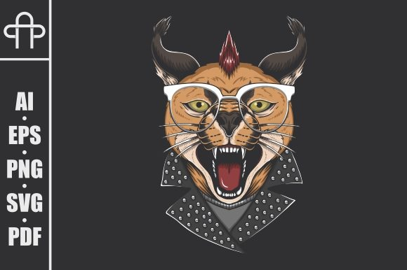 Download Free Caracal Cat Punk Head Graphic By Andypp Creative Fabrica for Cricut Explore, Silhouette and other cutting machines.