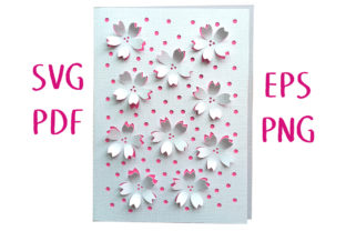 Cherry Blossom 3D Card Cut File Graphic 3D SVG By Nic Squirrell 1